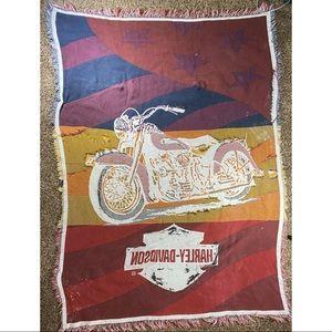 Vintage Harley Davidson throw blanket destroyed